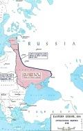Linia frontu w grudniu 1917 i obszar okupowany przez państwa centralne po traktacie brzeskim