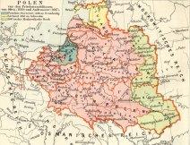 Polska przed rokiem 1660, fragment mapy austriackiego towarzystwa bibliograficznego z 1892